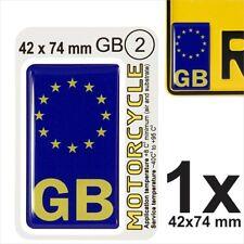GB NUMBER PLATE 3D GEL STICKER Motorcycles Motorbikes EU Resin Domed Side Badge