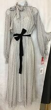 Valentino Dress Long White Black .Velvet Tie Long Ruffled Sleeves Nwt Size 40