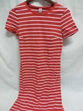 Old Navy Dress Round Neck Short Sleeve Red White Stripe Size S #6454