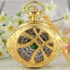 Reloj de bolsillo Steampunk Gris/Oro Hueco caso Doctor Strange unisex de cuarzo cadena
