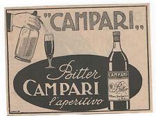 Pubblicità 1922 CAMPARI BITTER MILANO ITALY old advert werbung publicitè reklame