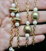 Vintage-Contemporary Embossed Gold Tone Beads & Faux Pearl Necklace