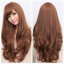 75cm Long Curly Women's Fashion Light Brown Cosplay Fancy Dress Wigs