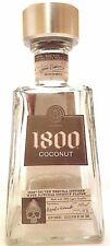 1800 COCONUT TEQUILA BOTTLE 750 ML GLASS DECORATIVE COLLECTIBLE w/ SILVER CAP
