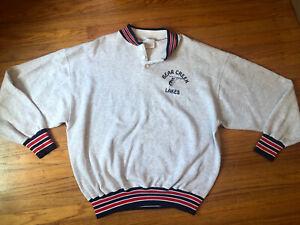 Vintage 80s Varsity Bear Creek lakes sweatshirt.made in USA.striped trim