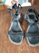 Teva wedge sandals black leather us sz 9
