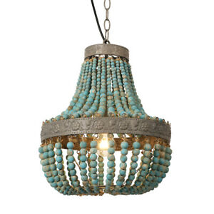 Blue Wood Bead Chandelier Pendant Ceiling Lights Finishing Vintage Rustic Lamp