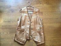 Women's Vintage Leather Vest Size M