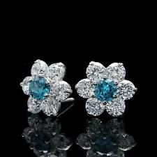 2 Ct Round Cut Blue Topaz Diamond Women Cluster Earrings Studs 14K White Gold FN