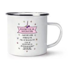 Reasons To Be An Avocadocorn Retro Enamel Mug Cup Avocado Unicorn Funny Camping