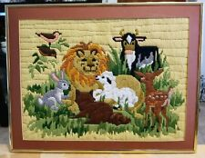 """Lion, Lamb and other animals Crewel framed & matted 18"""" x 14"""""""