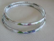 Lot de 2 bracelets joncs anciens en émail cloisonné
