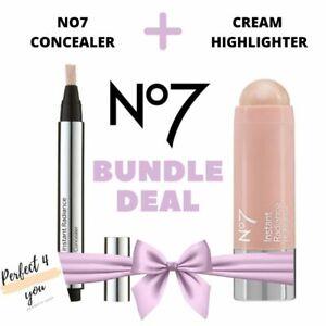 No7 Instant Radiance Under Eye Concealer and Cream Highlighter BUNDLE