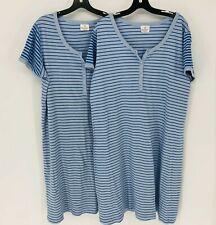 Hanna Andersson Womens Lot of 2 Organic Cotton Night Dresses Size XL Blue Stripe
