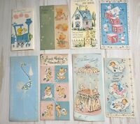 Vintage Lot 8 Greeting Cards Baby Newborn New Parents Scrapbooking Crafts Used