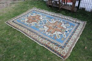 "Vintage Handmade Turkish Area Rug 78""x54"""