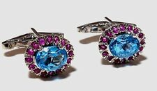 14K Solid White Gold Natural Gem Stone Blue Topaz & Ruby Men's Cufflink
