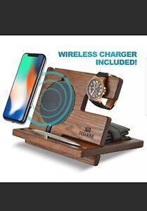 Teslyar - Wireless Phone Docking Station - Light Ash Wood New