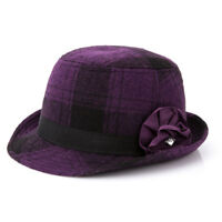Women Girls Winter Autumn Vintage Plaids Wool Trilby Fedora Hat Retro Cloche Cap