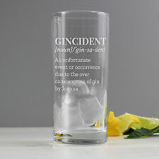 Personalised Engraved Gincident Hi Ball Gin Glass Gift for Drinkers men Women