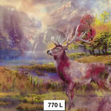 TWO (2) Paper Luncheon Napkins, Decoupage, DEER, MOUNTAINS, AUTUMN, MAJESTIC