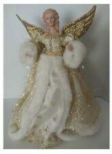 "16"" White & Gold Wing Christmas Angel Tree Topper TableTop Holiday Centerpiece"