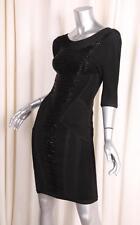 HERVE LEGER Womens Black Knit 3/4-Sleeve Stretch Bodycon Bandage Beaded Dress S