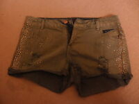Ladies girls NEW LOOK YES YES dirty wash ripped sequin denim shorts size 10