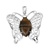 Fashion Healing Gemstone Necklace Pendant Silver Hollow Butterfly no Chain Gift
