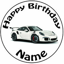"Personalised Birthday White Porsche Round 8"" Easy Precut Icing Cake Topper"