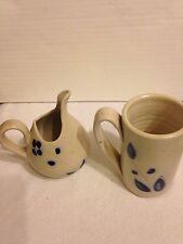 Lot 2 Hand Carved Cobalt Salt Glaze Williamsburg Pottery Creamer Cup