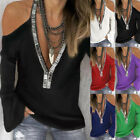 Women Long Sleeve V Neck Cold Shoulder Blouse Casual Loose Tunic Tops T Shirt