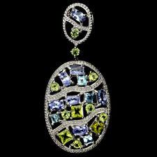 Großer Anhänger Tansanit Peridot Blautopas Swiss Blue 925 Silber 585 Weißgold