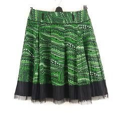 Peter Nygard Collection Green & Black Geometric Pleated Tulle Trim Skirt 12 P