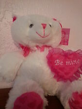 "Valentines Day White Bear Hot Pink Heart ""Be Mine"" Burton & Burton Nwt"