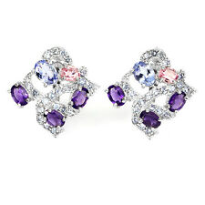 GORGEOUS! NATURAL GEM AMETHYST,TOURMALINE,TANZANITE STERLING 925 SILVER EARRINGS