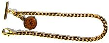 T-Bar End And Clock Fob Gold Plated Pocket Watch Chain With