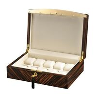 Volta Ebony Wood 10 Watch Case Box with Gold Accents (Cream Leather Interior)
