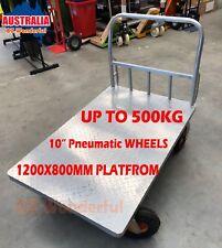 500kg Fixed Handle Heavy Duty Platform Trolley Hand Truck Cart Pneumatic wheel