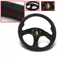 UNIVERSAL 6 Bolt Replacement Steering Wheel Black PVC Leather with Red Stitching