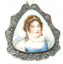 Antique Victorian Hand Painted Porcelain Panel Sterling Silver Pendant Brooch