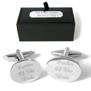 Brother Of The Bride Cufflinks FREE Engraved Gift Box Personalised Wedding