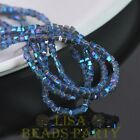 100pcs 4mm Cube Square Faceted Crystal Glass Loose Spacer Beads Blue Colorized