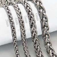 "3/4/5/6MM 20"" MENS Silver Stainless Steel Wheat Braided Chain Necklace R*T"