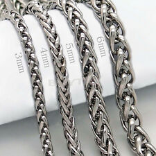 Mens Silver Stainless Steel Chain Cross Necklace Twist Figaro Curb Chain3-6mmNTX