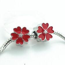 1pcs silver flower CZ European  Charm Beads Fit 925 Necklace Bracelet DIY #13S