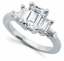 3.00 ct total 3 Stone Emerald Cut Diamond Baguettes Ring, G SI1 14k White Gold