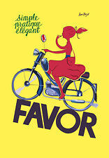 FAVOR BIKES  Vintage art print  poster for glass frames A1 Size yellow