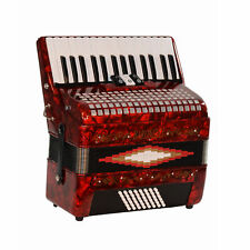 Baronelli 30 Key 48 Bass, 3 Switch Piano Accordion, With Staps, Case, Red
