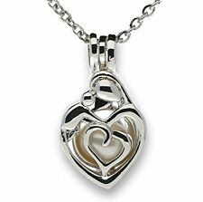 Mother Baby Child Cage Necklace Love Heart Sterling Silver Pick-a-Pearl CHARM